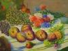 Natura morta con uva fiori e pesche