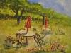 Sedie, tavolini ed ombrelloni